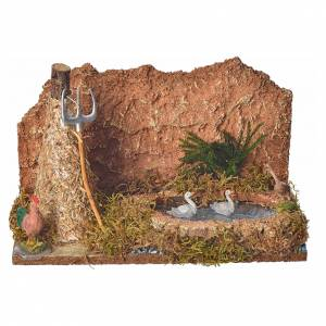 Nativity setting, pond with geese and sheaf 15x24x13cm s4