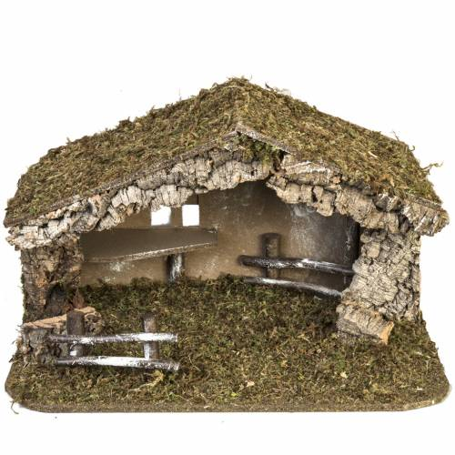 Nativity setting, simple stable in cork and moss 38x58x34cm s1