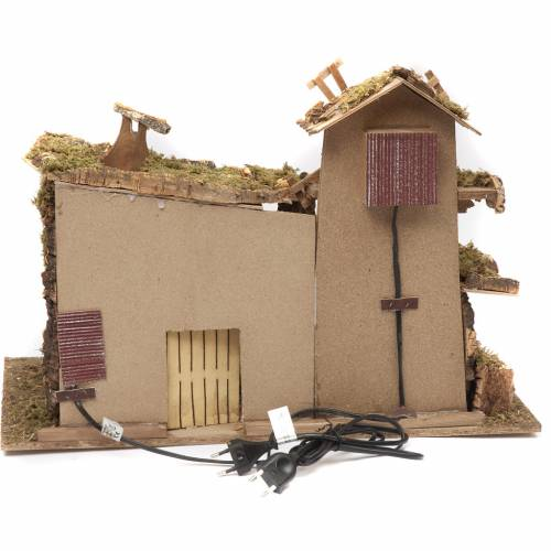 Nativity setting, stable with mill and fire 38x58x28cm 4
