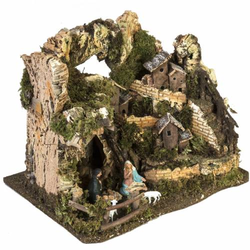 Nativity setting, village with grotto 28x38x28cm s5