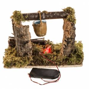 Nativity setting with battery LED fire and bucket s3