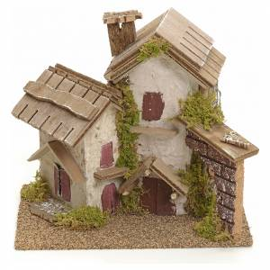 Nativity setting with rustic houses s1