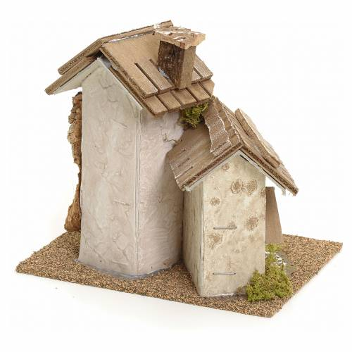 Nativity setting with rustic houses s3