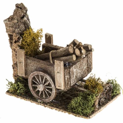 Nativity setting with wood cart s2