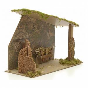 Nativity stable in cork with arch and rocks 31x42x20cm s2