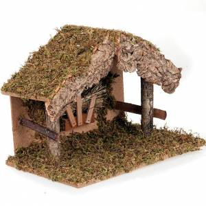 Stables and grottos: Nativity stable, moss and cork hut with manger