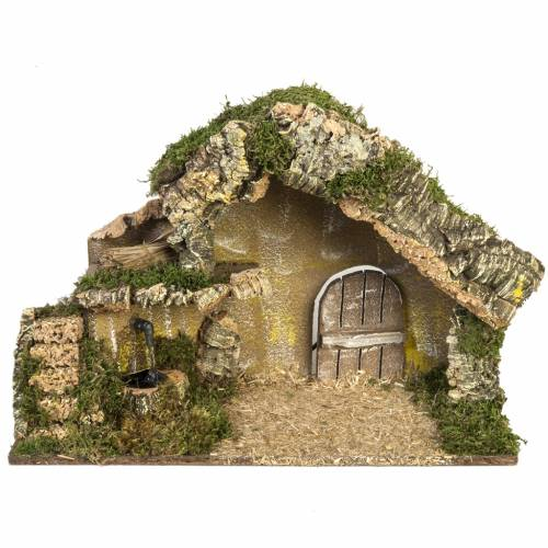 Nativity stable with door and fountain 28x42x18cm s1