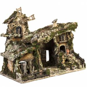 Nativity stable with wind mill 58x50x38cm s6