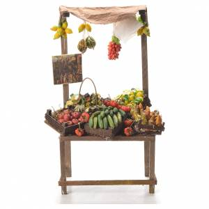 Nativity stall with fruit in wax 41x22x15cm s1