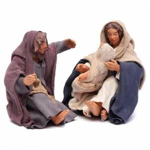 Neapolitan Nativity Scene: Nativity trio sitting 12 cm for Neapolitan nativity scene