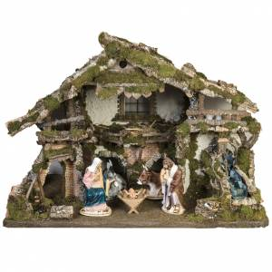 Stables and grottos: Nativity village, stable with waterfall and fire pit 78x110x66cm