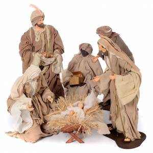 Resin and Fabric nativity scene sets: Natural resin nativity scene 6 pieces 50 cm