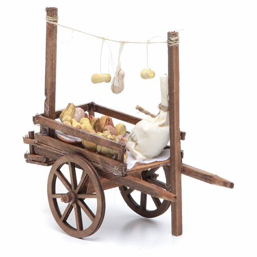 Neapolitan Nativity accessory, bread and cheese cart, terracotta s5