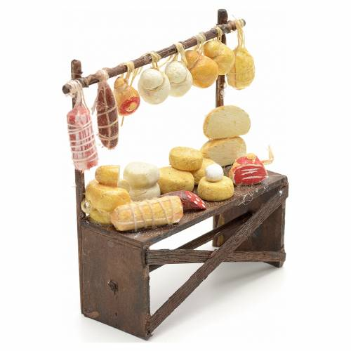 Neapolitan nativity accessory, cured meat and cheese stall 9x8x3 s2