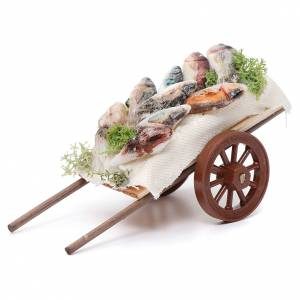 Neapolitan Nativity Scene: Neapolitan Nativity accessory, fishmonger's cart in wax 5x11x5cm