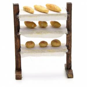 Neapolitan nativity accessory, shelf with bread 8cm s1