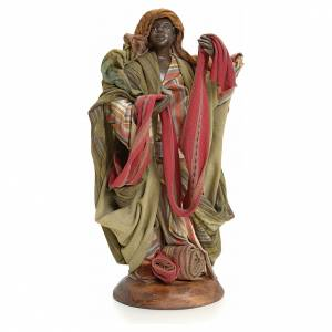 Neapolitan Nativity figurine, cloth seller, 18 cm s1