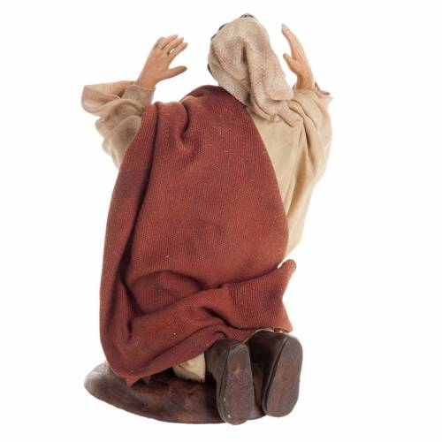 Neapolitan nativity figurine, kneeling man 18cm s5