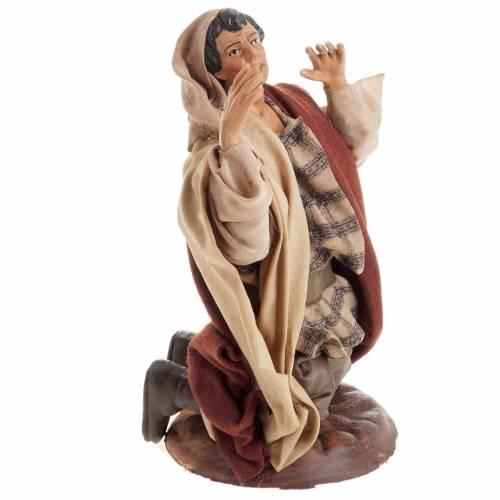 Neapolitan nativity figurine, kneeling man 18cm s2