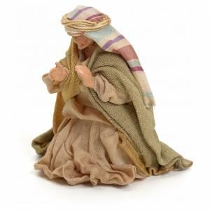 Neapolitan Nativity figurine, kneeling woman praying, 8 cm s2