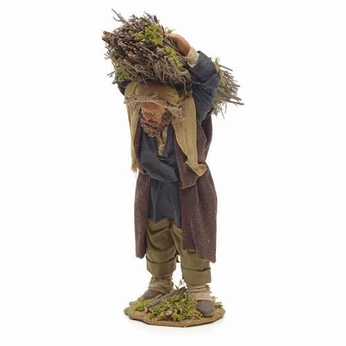 Neapolitan Nativity figurine, lumberjack with wood bundle, 24cm s2