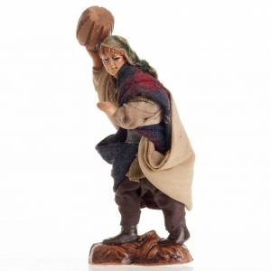 Neapolitan nativity figurine, man with barrel 8cm s2