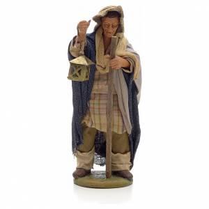 Neapolitan Nativity figurine, man with lantern and stick 14cm s1