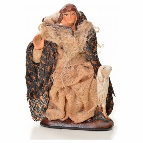 Neapolitan Nativity figurine, man with sheep, 6 cm s1