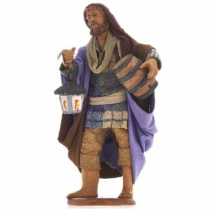 Neapolitan Nativity figurine, sheperd barrel and lantern, 14 cm s1