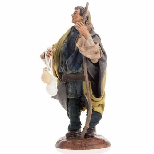 Neapolitan nativity figurine, shepherd with cheese 18cm s3
