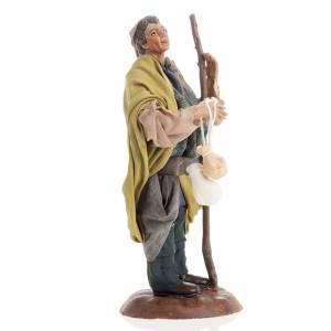 Neapolitan nativity figurine, shepherd with cheese 18cm s2
