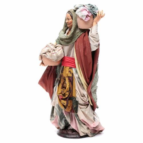 Neapolitan Nativity figurine, woman with basket of cloth s2