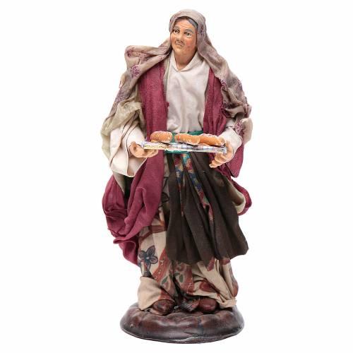Neapolitan nativity figurine, woman with bread basket 18cm s1