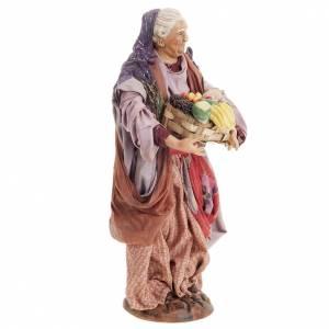 Neapolitan nativity figurine, woman with fruit basket 30cm s7