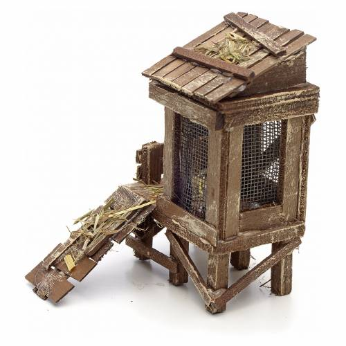 Neapolitan Nativity scene accessory, hen house with hen s2