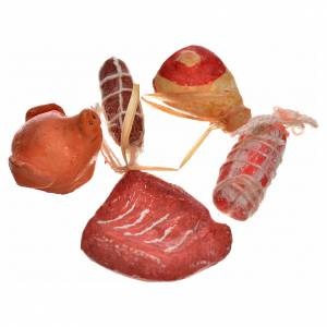 Neapolitan Nativity scene accessory, meat, cured meats 5 pieces s2