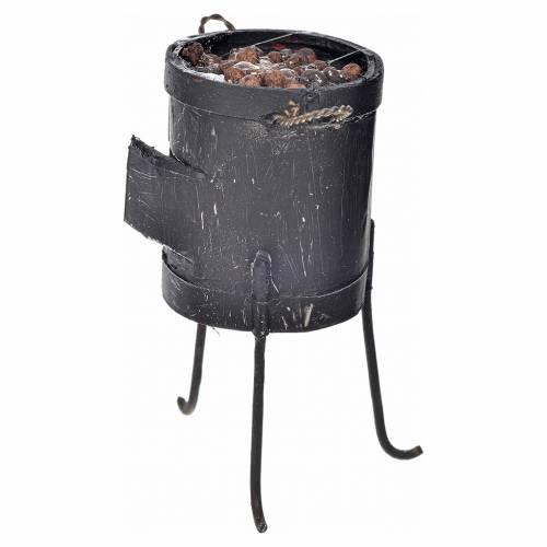 Neapolitan Nativity scene accessory, stove with chestnuts 7,5x5 s2
