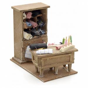 Neapolitan Nativity scene accessory, tailor table with shelf s1