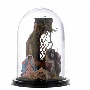 Neapolitan Nativity Scene: Neapolitan nativity scene on a wooden base with a glass domed roof