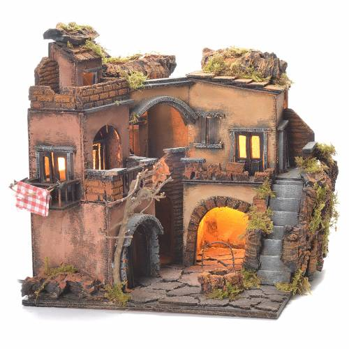 Neapolitan Nativity Village, 1700 style with well 32x35x30cm s6