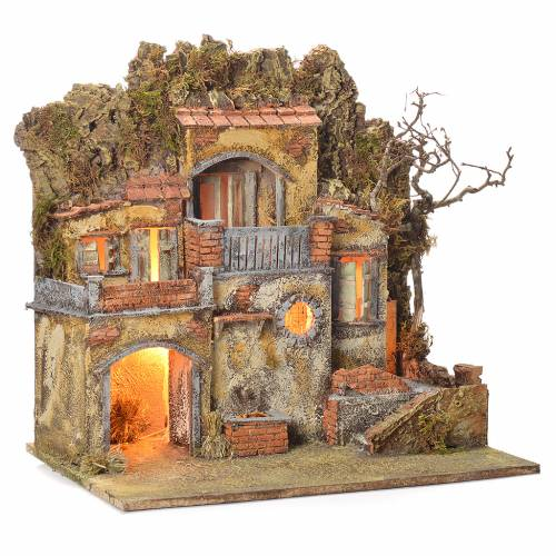 Neapolitan Nativity village with fountain 55x50x35, for 10cm s2