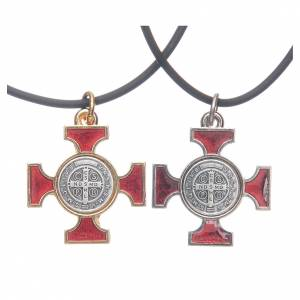Metal Cross Pendants: Necklace with St. Benedict Celtic cross, red 2.5x2.5cm
