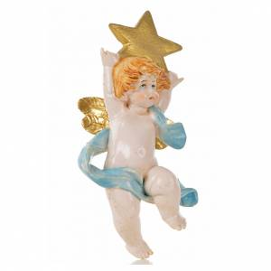 Ángeles: Ángel con estrella azul Fontanini 7 cm. símil porcelana