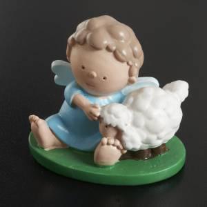 Ángel con ovejas  en resina de color 6x5 s2