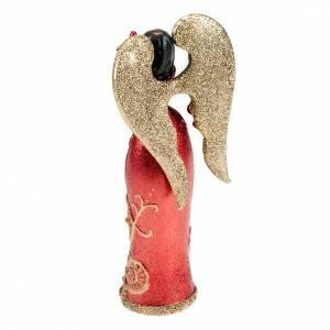 Ángel de resina paloma en la mano glitter rojo y dorado s2