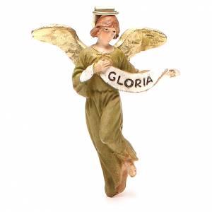 Figuras del Belén: Ángel Gloria resina pintada 10 cm Linea barata Landi