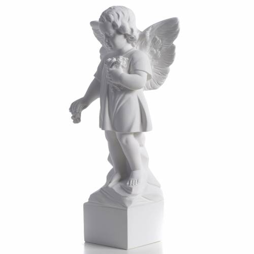 Ángel lanza flores 40cm polvo de mármol s3
