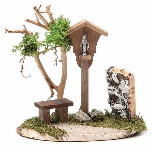Niche en bois avec Vierge 14x9,5x13 cm s1