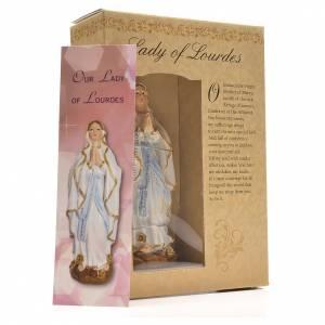 Nuestra Señora de Lourdes 12cm con imagen y oración en Ingles s3