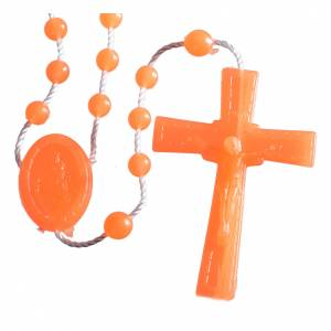 Economical rosaries: Nylon florescent rosary beads, orange